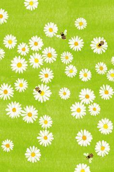 Kazuaki Yamauchi, daisies and bees illustration.