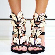 Gold Leaf High Heeled Sandals In Black. I'm in love....again. Hubba Hubba.