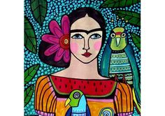 65% Off- Mexican Folk Art Ceramic Tile  Frida Kahlo Parrot Bird Colorful Art