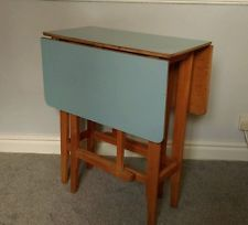 Vintage Retro Mid Century Blue Formica Drop Leaf Table