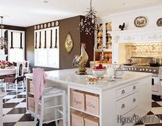 """I wanted to make this heavenly Candy Land,"" Jamie Gottschall says of her Pennsylvania kitchen. ""I wanted people to walk in and feel like they could lick the walls, like it was Willy Wonka and the Chocolate Factory."" - I love what she said more than the kitchen itself - gotta love how she hoped people would react to her chocolate walls.  :)"