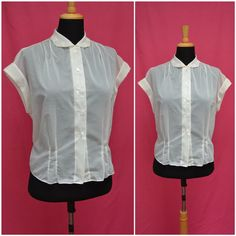 Vintage blouse 1950s sheer nylon fitted by VintageGreenClothing, £25.99