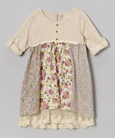 Beige & Purple Floral Henley Babydoll Dress - Toddler & Girls by Free Planet #zulilyfinds