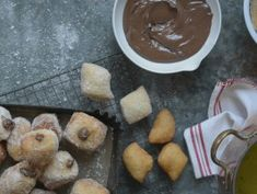 Chocolate Hazelnut Zeppole (25) Italian filled doughnuts with her PIZZA DOUGH from Simply Laura @ CookingChannelTV.com