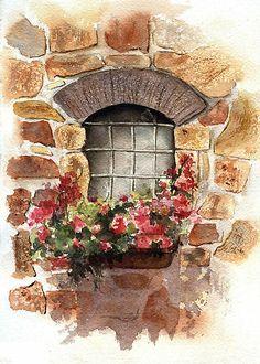 provence stone window watercolor - Google Search