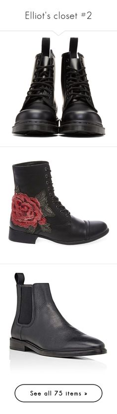 """Elliot's closet #2"" by queen-of-disasterxxi ❤ liked on Polyvore featuring men's fashion, men's shoes, men's boots, shoes, boots, mens round toe cowboy boots, dr martens mens boots, mens black boots, mens black lace up shoes and mens black shoes"
