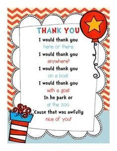 Seuss Read Across America Thank You Note {FREEBIE!} Use this adorable Dr. Seuss-themed thank you note for your volunteers and guest readers for Read Across America Week! Birthday Quotes For Teacher, Teacher Thank You Notes, Thank You Poems, Birthday Card Sayings, Teacher Quotes, Thank You Gifts, Teacher Gifts, Teacher Cakes, Dr Seuss Week