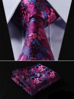 Silk Floral Necktie & Pocket Square Handkerchief Set.