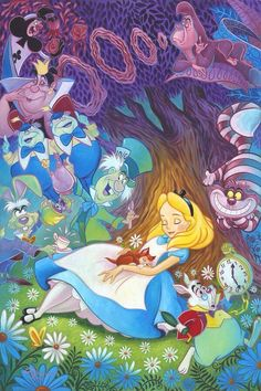 Dreaming in Color, Original animation art hand embellished giclee on canvas of Alice from Disney Studios. This page links to our main page which has over 5000 pieces of animation art from Disney, Simpsons, Warner, etc. Arte Disney, Disney Magic, Disney Fine Art, Pinturas Disney, Were All Mad Here, Have I Gone Mad, Adventures In Wonderland, Lewis Carroll, Wonderland Party