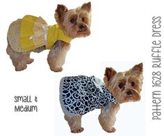 Dainty and delicate Ruffle Dog Dress SEWING PATTERN for your little dog! Constructed of cotton and cotton blend fabrics, the dog dress has a fully