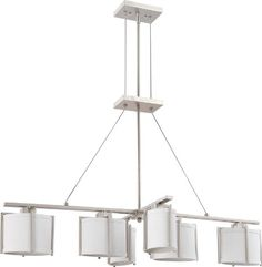 Nuvo Lighting 604351 Six Light Portia Island Pendant with Slate Gray Fabric Shade Brushed Nickel ** Details on product can be viewed by clicking the VISIT button