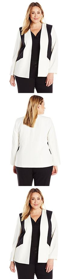 NINE WEST Womens Bi Stretch Kiss Front Jacket Shoulder Detailing