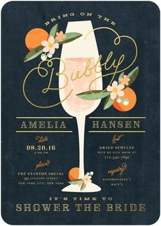 Sweet Nectarine - Signature White Bridal Shower Invitations - Elk Design - Stormy Blue - Blue : Front