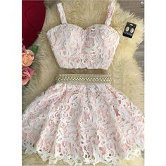 sexy-two-piece-sweetheart-mini-pink-lace-homecoming-dress-with-pearls... ❤ liked on Polyvore featuring dresses, sexy cocktail dresses, 2 piece prom dresses, sexy mini dress, lace dress and pink lace dress