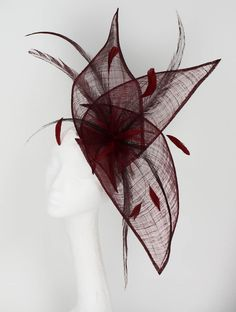 Burgundy Fascinator Hat for Weddings Races and by Hatsbycressida...