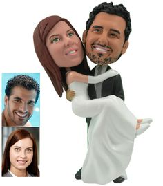 Made to Look like you.A bobblehead cake topper of a groom carrying his bride. A gorgeous personalized cake topper with the groom wearing a black suit, white shirt and gray tie. The bride wears a gown with straps and elbow-long white gloves.