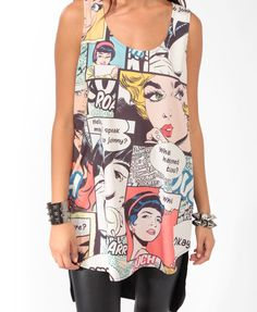 High-Low Comic Strip Dress -FOREVER21