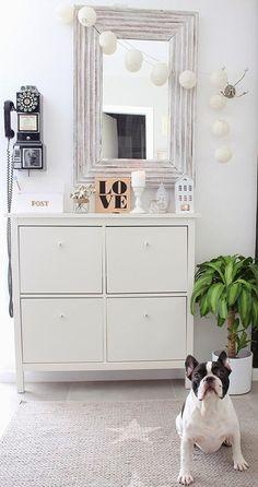 Shoe cabinet IKEA HEMNES - selection of interior hallways Ikea Hemnes Shoe Cabinet, Banquette Design, Decoracion Low Cost, Boho Deco, Boho Chic, Floor Colors, Cabinet Decor, Home Accessories, Home Decor