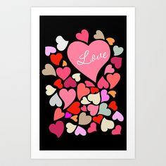 Love Hearts Multicolor Art Print Home Decor Room Furnishing Contemporary Wall Design Graphic  Art Print by Lubo - $16.64