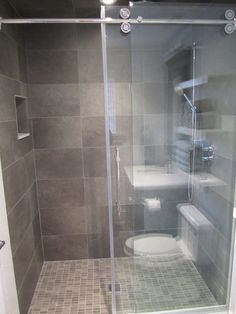43 best Bathroom setup images on Pinterest   Bathroom  Bath room and     Grey wall floor tile bathroom