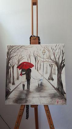 Oil paint - Red umbrella - lovers husky - black white red