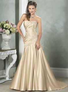 wedding dresses with color | Cheap hot sale Tan Embroidered Color Wedding Dresses Strapless Mermaid ...