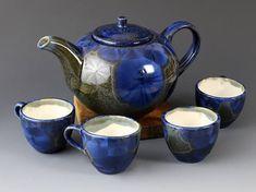 Teapot Set Crystalline Glaze Cornflower-blue
