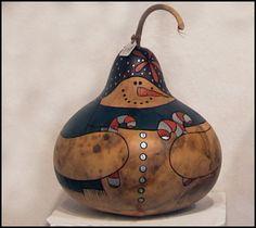 Candy Cane Snowman Gourd