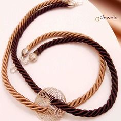 Collier  twisted cord brown e beige