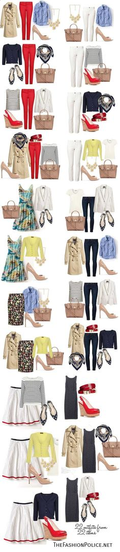 Spring Capsule Wardrobe 2014 | 22 outfits from 22 items. I love these types of things. They really help me see the possibilities in my closet.