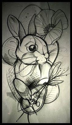 Resultado de imagem para rabbit tattoo neo traditional