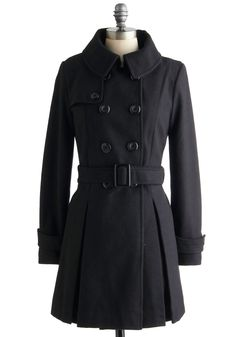 Inkwell Done Coat - Long, Black, Solid, Buttons, Long Sleeve, Pleats, Belted, Winter, Double Breasted, 4