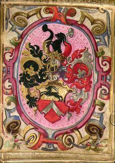 Schoppershof Wappen (Seite 7) -- «Handelspraktik aus Nürnberg, wie die Porträts zeigen aus dem Besitz des Martin Peller von Schoppershof (1559-1629) und seiner Frau Maria, geb. Viatis», Nürnberg, Venedig (?), um 1618 [BSB Cgm 9484]