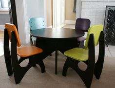 I will have this for Decklyn one day soon! Positive thinking! I  really love this! Modern Child Table set  4 Chair option by JesseLeeDesigns on Etsy, $280.00
