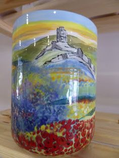 Hand painted ceramics by Pam Smith : Hand painted Dorset scenes. Utensil Holder, Hand Painted Ceramics, Ceramic Painting, Jar, Hands, Home Decor, Hand Painted Pottery, Pottery Painting, Decoration Home