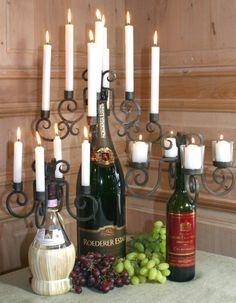 Wine Bottle Candelabra @Melody Coleman Combs new project!!
