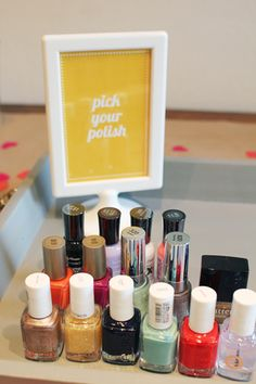 Mani & Pedi anyone? Girls Night In Tip - have every girl bring their favorite color(s) then everyone can mix and match!
