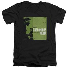 THELONIOUS MONK/WORK-S/S ADULT V-NECK 30/1-BLACK