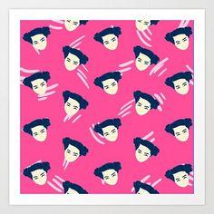 Bjork tribute pattern #bjork #pattern #patterns #pink #illustration #girl #art #drawing #color #puertorico #design #society6 #print #supakid