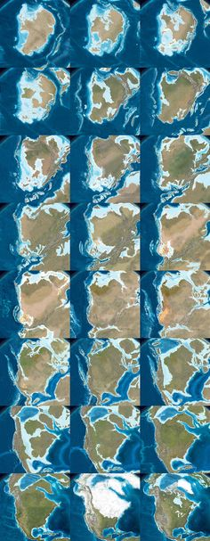 The following images come from Ron Blakey's maps of the paleotectonic evolution of North America. This shows the land 510 million years ago, progressing from there—reading left to right, top to bottom—through the accretion and dissolution of Pangaea into the most recent Ice Age and, in the final image, North America in its present-day configuration.