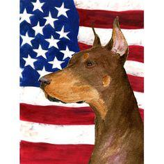 Caroline's Treasures USA American Flag with Doberman House Vertical Flag