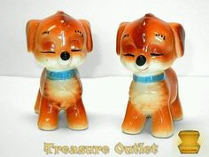 Japan Vintage Ceramic Puppy Dog Salt And Pepper Shakers