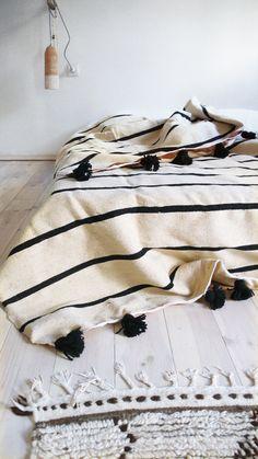 Moroccan POM POM Wool Blanket :) Black Stripes