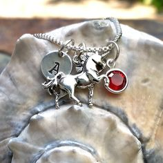 Sterling Silver Unicorn Charm Necklace - Personalized Custom Letter Name Initial Stamp - Choice of Birthstone or Swarovski Crystal Pearl by CharmNecklaces on Etsy