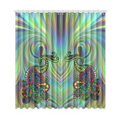 Abstract fantasy Peacock drawing with a fractal background Peacock Drawing, Fractal Patterns, Custom Shower Curtains, Window Curtains, Fractals, Mystic, Graphic Design, Fantasy, Abstract