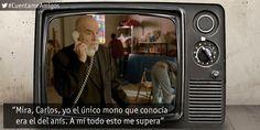 """""""Mira, Carlos, yo el único mono que conocía era el del anís. A mí todo esto me supera"""" http://www.rtve.es/television/cuentame/directo-hd/…"""