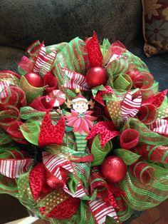 Girly Elf Deco Mesh Wreath