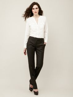 white shirt, black pants and red lips. #falluniform | style ...