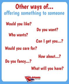 Other ways of: Offering something to someone English Class, English Lessons, Learn English, Grammar And Vocabulary, English Vocabulary, English Words, English Grammar, Other Ways To Say, English Language Learning