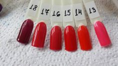 Гель -лаки IBD: 13. Flirty Flamenco 14. Vixen Rouge 15. Bing Cherries 16. Entralled 17. Luck of the Draw 18. Mogul